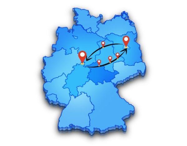 Berlin nach Kassel Mögliche Zwischenstopps