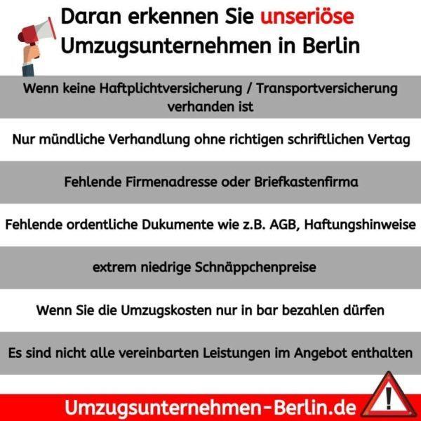 Daran erkennen Sie unseriöse Umzugsunternehmen in berlin