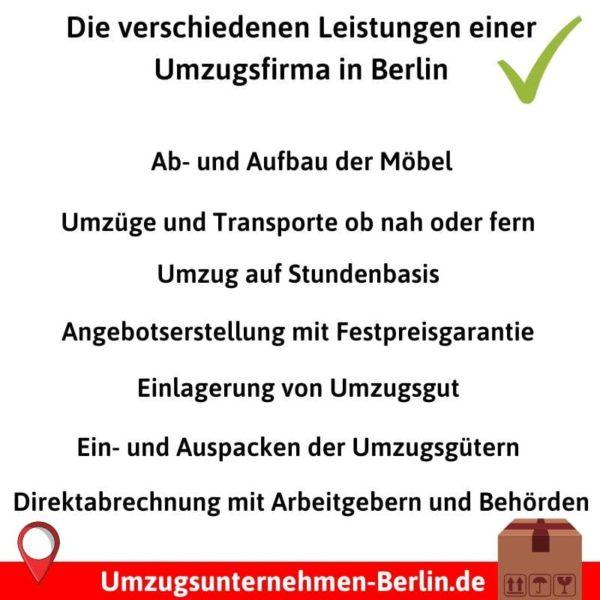 Die verschiedenen Leistungen einer Umzugsfirma in Berlin