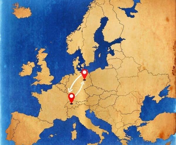 Von Deutschland nach die Schweiz als Beiladung